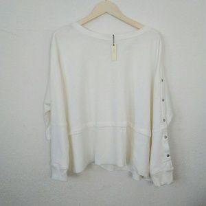 NWT CUPIO White Sail Sweatshirt Top Snap Sleeves